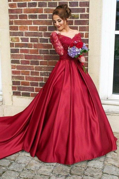 Elegant Long Sleeves Dark Red Prom Dresses with Train, Off The Shoulder Prom Dress, Red Ball Gown Evening Dress Women Burgudny Party Gowns