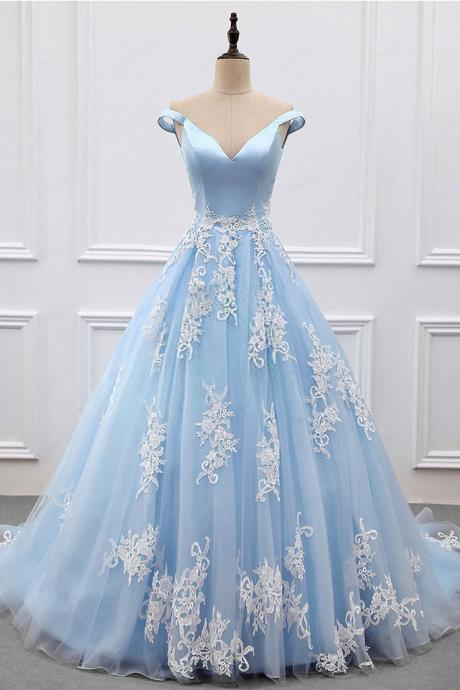 Elegant Light Blue Ball Gown Prom Dresses with Train Off the Shoulder V Neck Blue Tulle Long Prom Evening Dress with Lace Appliques