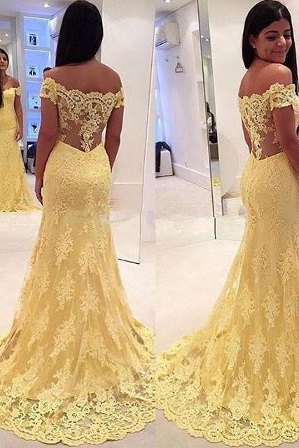 Yellow Mermaid Prom Dresses with Train New Arrival Sexy Off the Shoulder Lace Appliques Tulle Evening Prom Party Gowns 2018