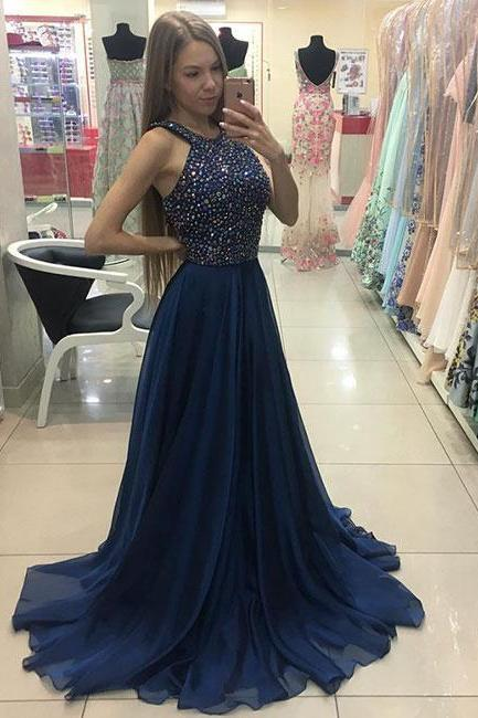 Navy Blue Long Chiffon Beaded Prom Dress New A Line Evening Dress 2018