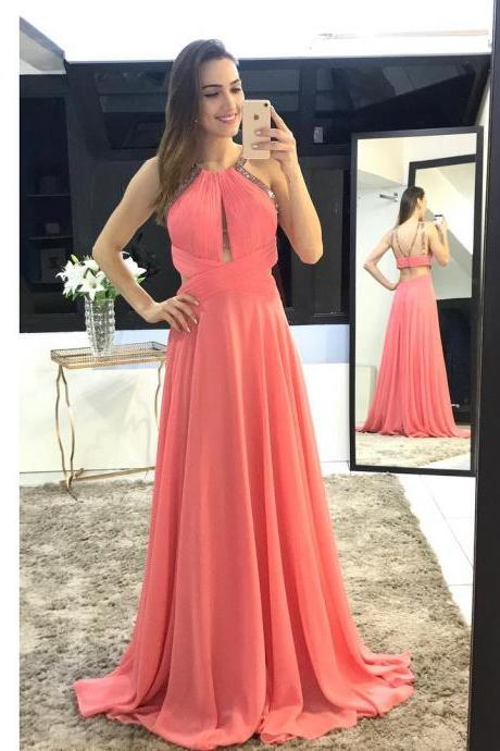 Coral Chiffon Prom Dresses Long Backless Beaded Sexy A Line Pleats Evening Dresses Formal Party Gowns