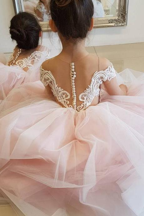 Flower Girl Dress, Sheer Back Long Sleeves Puffy Tulle Flower Girl Dresses Girls Formal Party Gowns