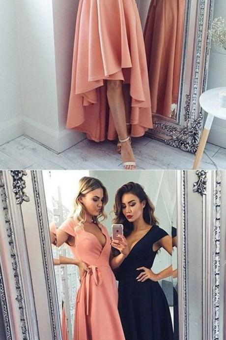 New High Low Prom Dresses Cap Sleeve Deep V Neck Sexy Black Blush Pink Prom Dress