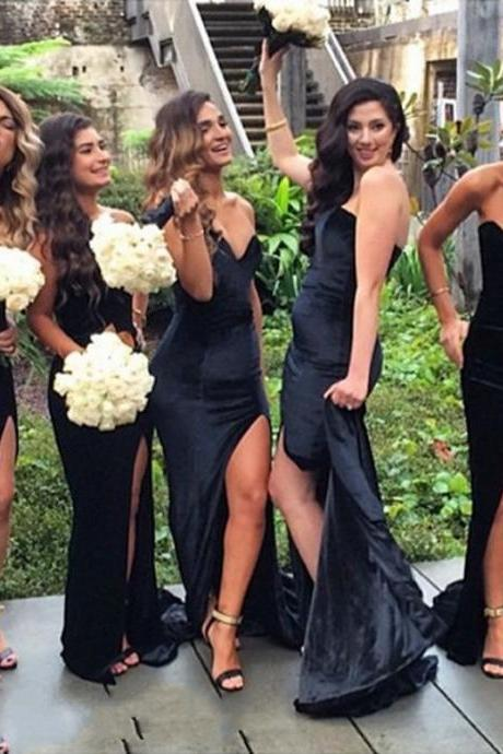 Bridesmaid Dress, New Sexy Mermaid Black Sweetheart Side Slit Satin Long Bridesmaid Dress Gown Brautjungfer Kleider, Wedding Party Dress
