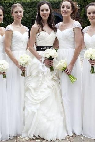 Bridesmaid Dresses,long bridesmaid dress, white bridesmaid dress, cap sleeve bridesmaid dress, dress for bridesmaid, popular bridesmaid dress,Long Wedding Party Dresses