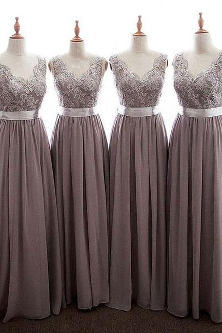 Grey Chiffon V-Neck Scalloped Open Back Long Bridesmaid Dress with Lace Applique