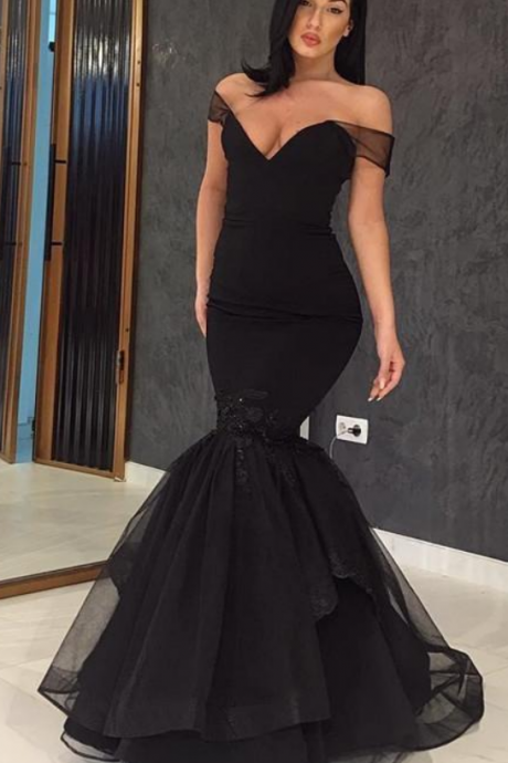 Prom Dresses, Black Dress Evening Wear Off The Shoulder Mermaid Prom Gowns Floor Length Lace Appliques New Formal Dresses