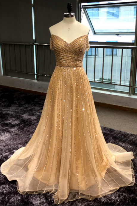 Luxurious Gold V-Neck Off-the-Shoulder Beaded A-line Long Prom Dress, Evening Dress
