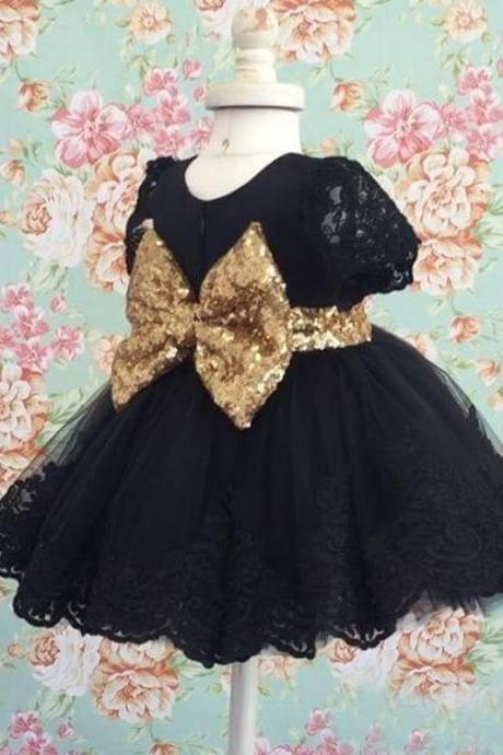 2018 Black Gold Seqins Bow Flower Girl Dresses Tea Length Short Sleeves Baby Infant Dress Girls Birthday Party Communion Dresses Custom Made