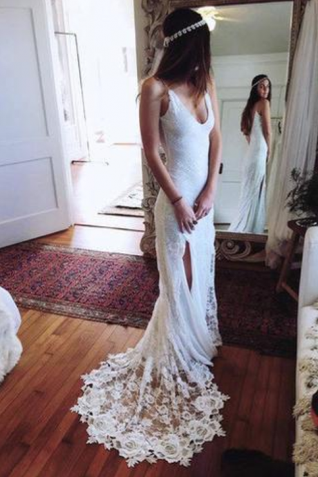 2018 Romantic Boho Backless Lace Mermaid Elegant White Wedding Dress