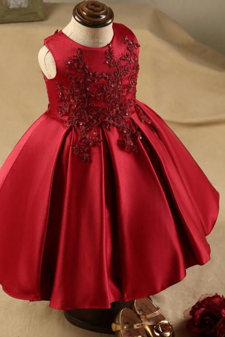 2018 Burgundy Lace Appliques Sequins Flower Girl Dresses Tea Length Baby Infant Toddler Dress Girls Birthday Party Communion Dresses Custom Made
