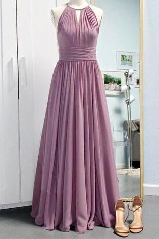 Simple A-Line Halter Sleeveless Long Prom/Evening Dress with Keyhole