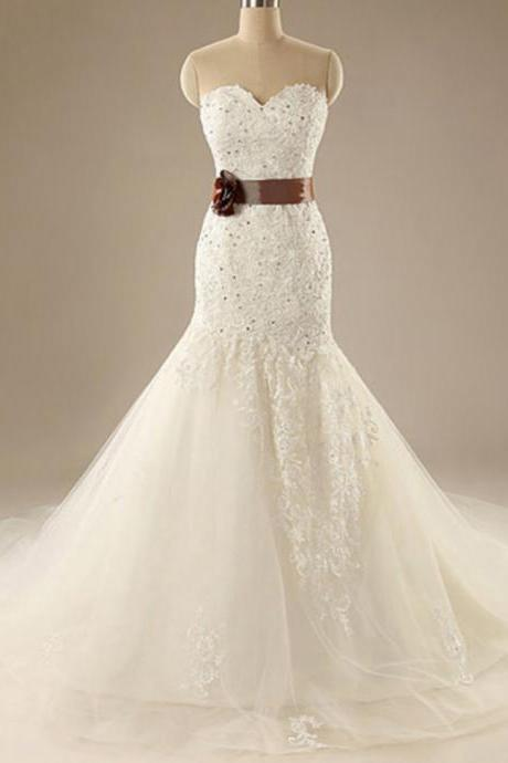Strapless Sweetheart Mermaid Lace Appliques Wedding Dress