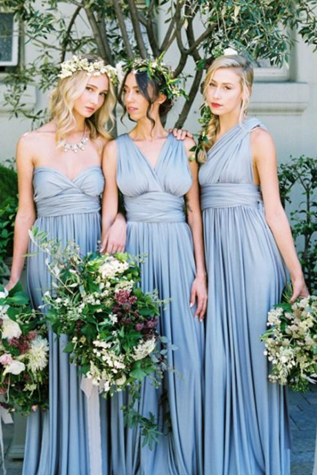 New Dusty Blue Convertible Bridesmaid Dresses Eight Ways To Wear Pleated Floor Length Country Beach Wedding Guest Party Gowns Cheap