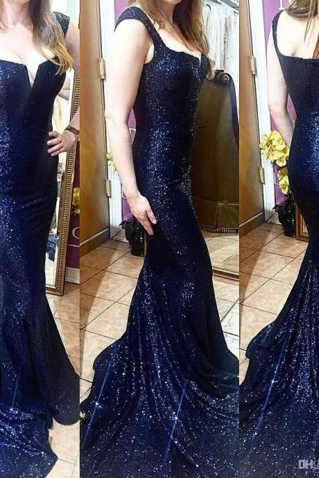 Prom Dresses Sequins Prom Gown,Mermaid Evening Dresses Sleeveless Evening Dress