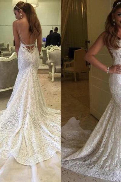 Lace Bridal Gown,Mermaid Wedding Dresses,Spaghetti Straps Prom Dress,Backless Prom Dresses,Sweetheart Wedding Dresses