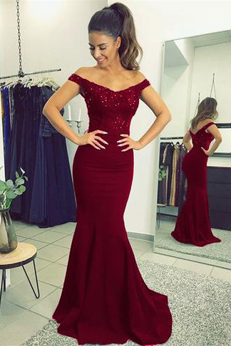 Beaded Embellished Burgundy Off-The-Shoulder Floor Length Mermaid Prom Dress, Evening Dress