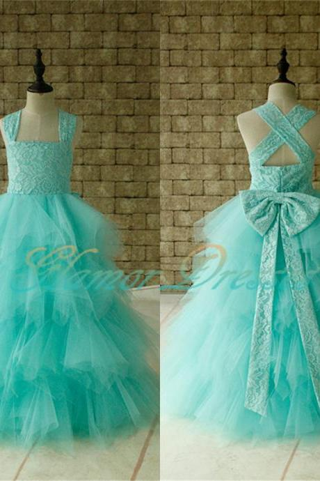 Flower Girl Dress, 2018 Mint Green Ball Gown Flower Girl Dresses Floor Length Appliques Formal Bow Sashes First Communion Gowns Kids Prom Party Gowns