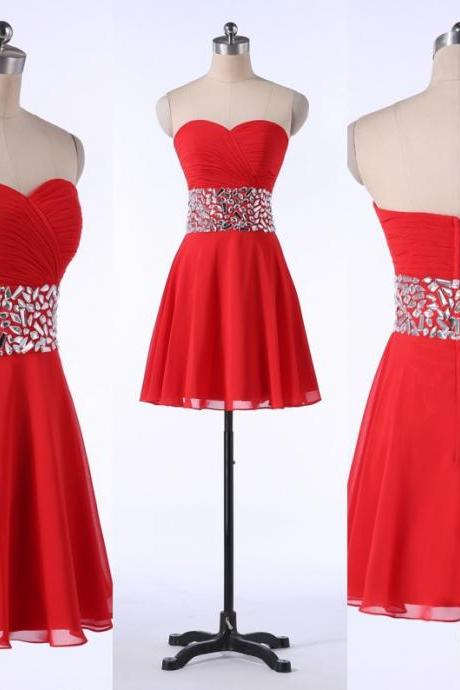 A-line Sweetheart Short Chiffon Homecoming Dress,Custom Made Homecoming Dresses