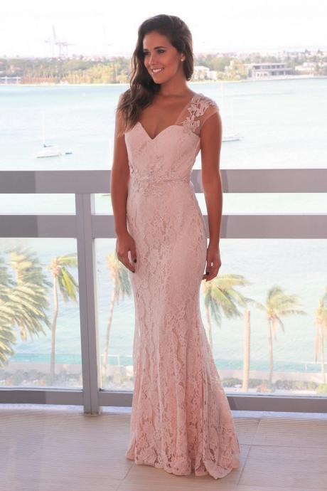 Elegant Mermaid Pink Lace Long Prom Dress Evening Dress