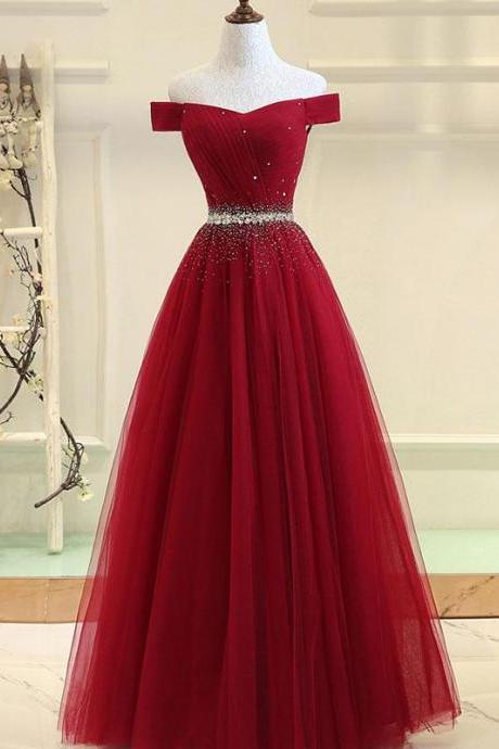 2018 Modern A-Line Off-The-Shoulder Burgundy Long Prom/Evening Dress With Beading