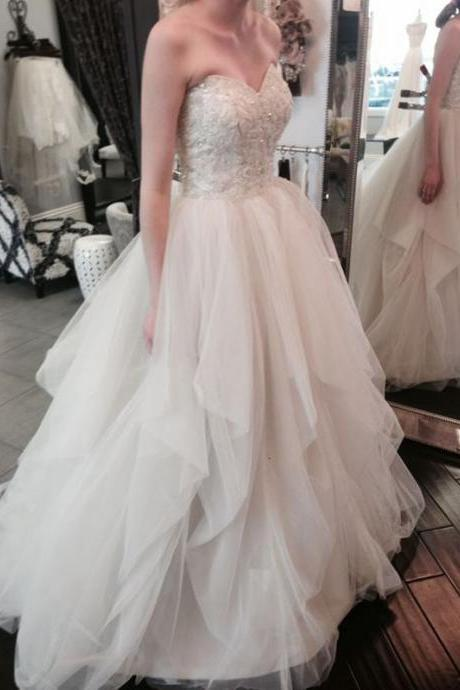 Elegant Wedding Dress,A-Line Wedding Dress,Sweetheart Tiered Wedding Dress,Long Prom/Wedding Dress With Appliques