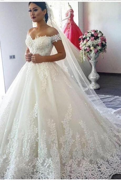 Leaf Lace Appliqués Off-The-Shoulder Floor Length Tulle Wedding Gown Featuring Train
