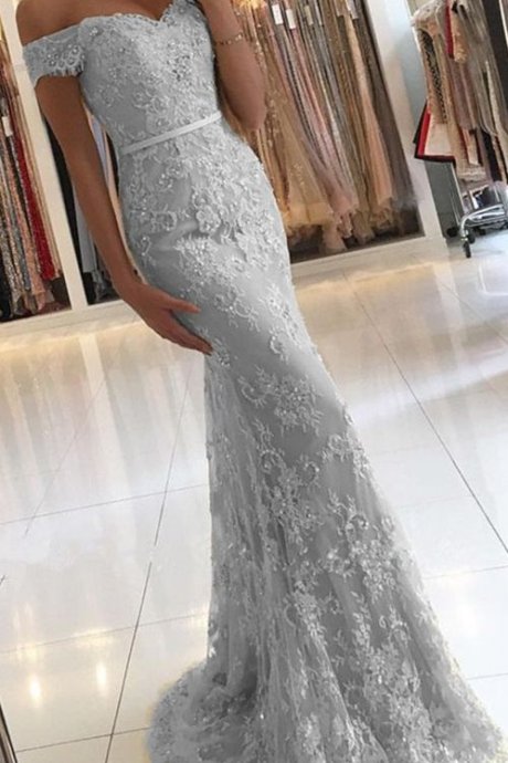 Sexy Tulle Off Shoulder Appliques Evening Dress, Mermaid Evening Dresses, 2018 Long Prom Dress, Formal Dress
