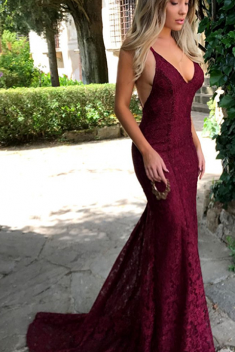 Burgundy Lace Prom Evening Dress,Amazing Lace Maroon Prom Dresses , V Neck Spaghetti Strap Long Evening Dress, Lace Prom Dresses