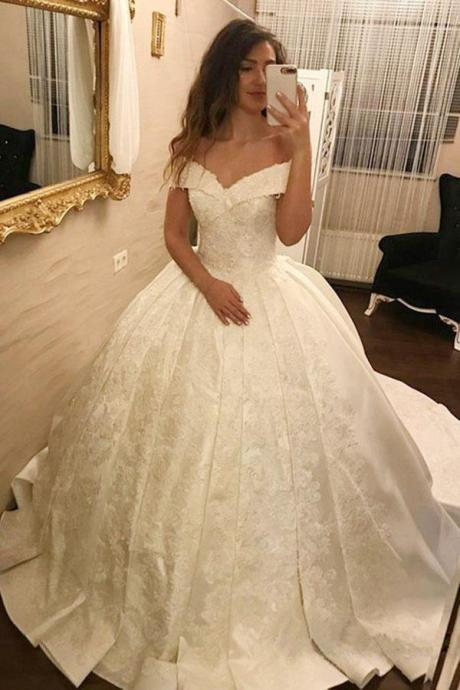 Ball Gown Wedding Dresses,Elegant Ball Gown Off-The-Shoulder White Long Prom/Wedding Dress With Appliques