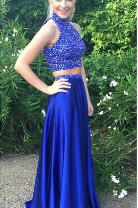 Royal Blue Formal Gowns,Halter High Neck Beaded Prom Dresses,Two Pieces Prom Dresses