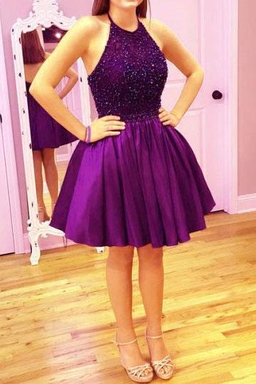 Short Open Back Party Dress,Purple Homecoming Dress,Halter Neckline Purple Cocktail Dress