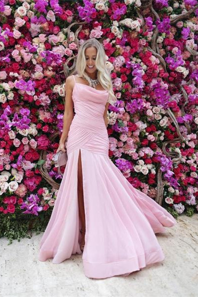 Sexy Spaghetti Straps Pink Mermaid Long Evening Dress with Side Slit