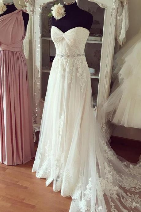 Wedding Dress, A Line Wedding Gown, Pleated Sweetheart Lace Appliques Beach Wedding Dresses Boho Wedding Gowns