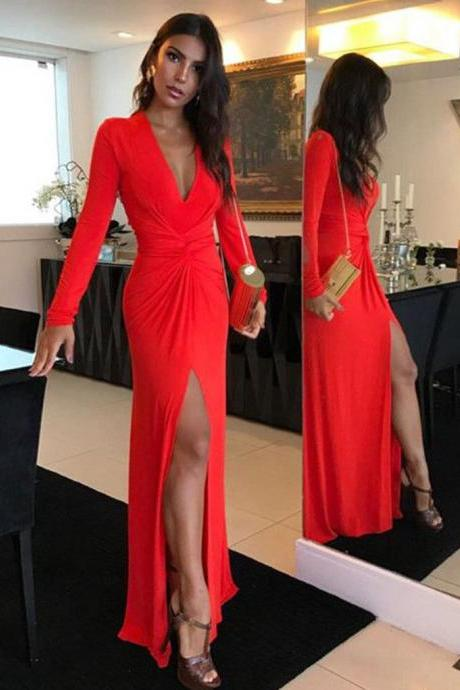 Red Prom Dress, Long Sleeves Sheath Sexy Elastic Pleated Prom Dresses Formal Party Gowns Evening Dress with Slit