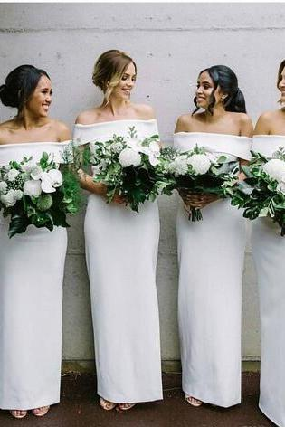 2018 Simply White Bridesmaid Dress Bateau Sheath Long Geogorus Maid of Honor Dress Wedding Guest Dresses Custom Made
