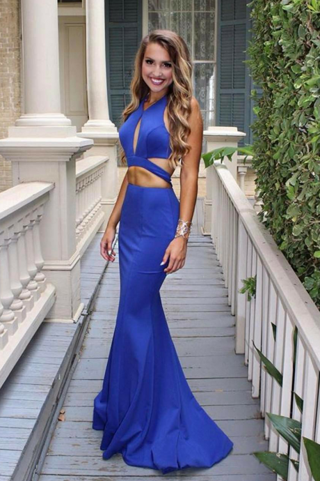 Two Pieces Royal Blue Prom Dresses,Long Mermaid Sexy Prom Dresses, Chiffon Prom Dresses, Evening Dress Prom Gowns, Formal Women Party Dress, Prom Dress, Blue Dance Dress