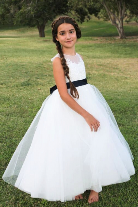 Flower Girl Dress, New Ball Gown White/Ivory Princess Flower Girl Dresses with Navy Blue Sash, Girl Wedding Party Gowns, Girls First Holy Communion Dress, Girls Formal Party Prom Gowns, Kids Birthday Party Gowns