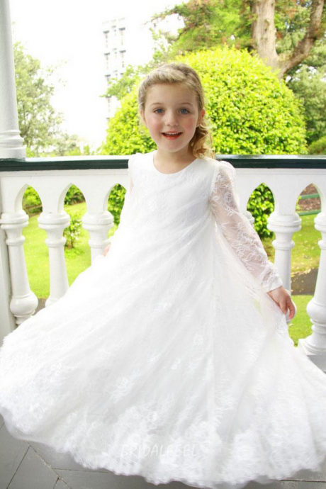 Flower Girl Dress, Lace Ankle Length Long Sleeves A-Line O-Neck Daughter Party Girl Dress Child Size 2-14 Custom Made
