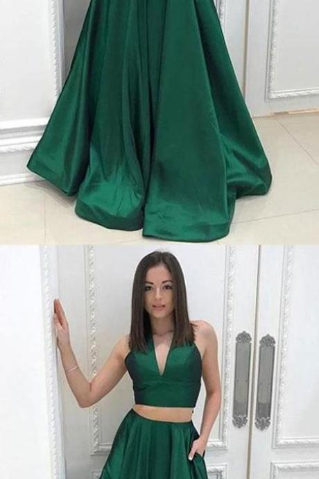 Green Prom Dress, Dark Green V Neck Two Pieces A-Line Satin Prom Dresses, Long Prom Dresses, Blue Prom Dresses, Evening Dress Prom Gowns, Formal Women Party Dress,Prom Dance Dress