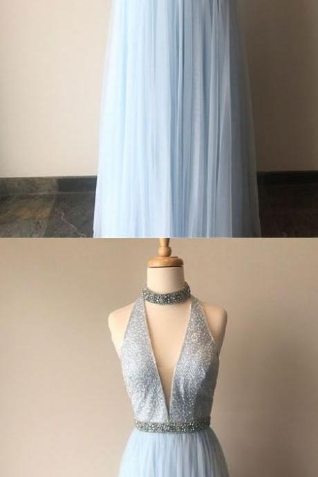 Sexy Sequins Beading A-Line Sky Blue Prom Dresses,Long Prom Dresses,Deep V Neck Blue Prom Dresses, Evening Dress Prom Gowns, Formal Women Party Dress,Prom Dress