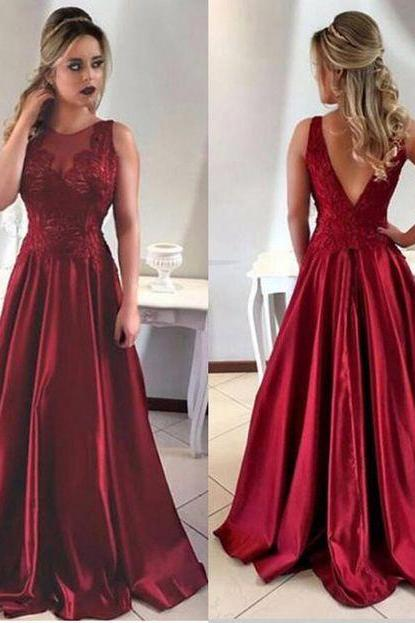 Dark Red Satin Long A-line Evening Gowns 2018 Sexy Lace Appliques Prom Dress Burgundy Satin Women Prom Dance Dresses