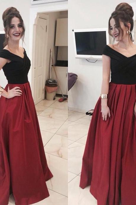 Off-the-shoulder Black Top Dark Red Evening Dresses, Prom Dresses, Satin A-line Floor-length Ruffles Prom Dresses