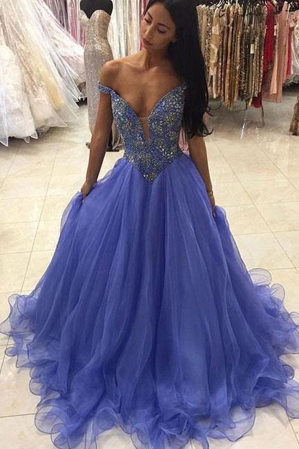 Blue Beads Prom Dress,Off Shoulder Organza Quinceanera Dresses, Princess Beading Prom Gown, Blue Prom Dress