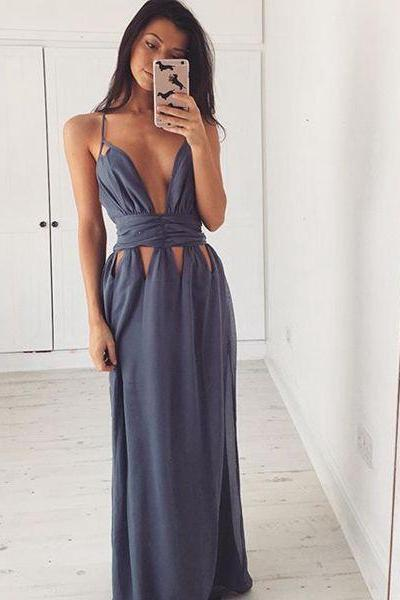 Grey Sexy Chic Prom Dress, Sexy Long Prom Dresses Backless Women Formal Party Gowns, Evening Dress