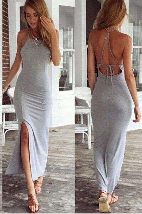 Grey Sheath Elastic Prom Dress, Sexy Long Prom Dresses Backless Women Formal Party Gowns Evening Dress