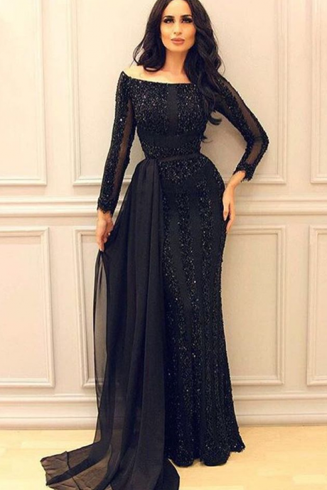 Black Long Sleeves Mermaid Evening Dresses,Mermaid Prom Gowns,Sexy Formal Women Dress,Elegant Prom Dress,Long Sleeve Black Prom Dress