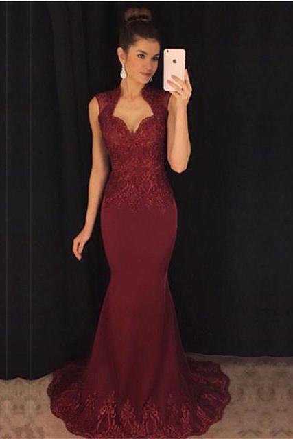 Long Burgundy Mermaid Prom Dresses Sleeveless Evening Formal Gowns Appliques Sexy Party Dress, Women Formal Party Gowns