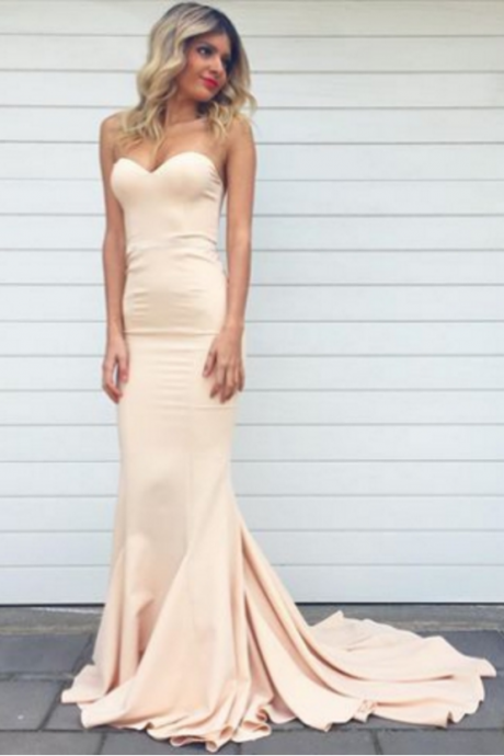 Sweetheart champagne long prom dress,formal dress,Sexy Prom Dresses