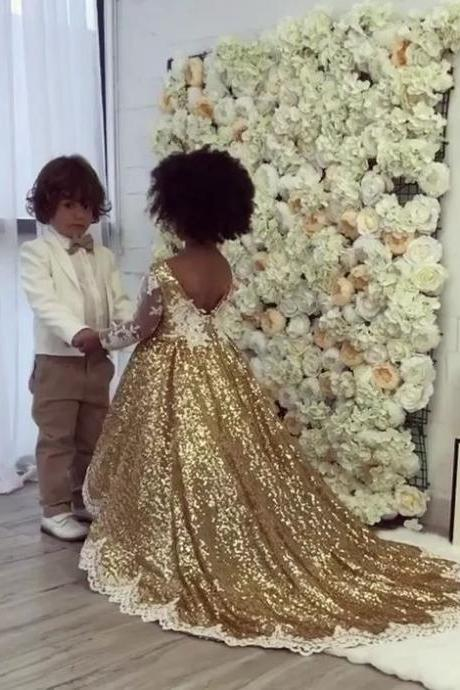 Flower Girl Dress, Lace Applique Flower Girl Dresses,New Gold Shining Sequins Princess Flower Girl Dresses, Girl Wedding Party Gowns,Girls Pageant Dress, Girls Formal Party Prom Gown